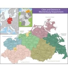 Map of Mecklenburg-Vorpommern vector