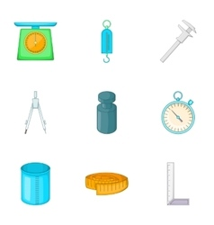 Measuring equipment icons set cartoon style vector