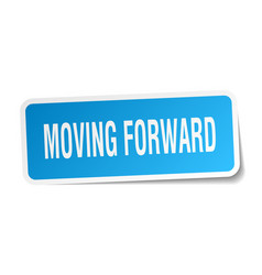 Moving forward square sticker on white vector