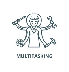 Multitasking line icon linear concept vector