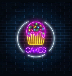 Neon glowing sign of cake with glaze in circle vector