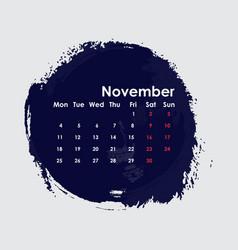 November 2019 calendar templatestarts from vector
