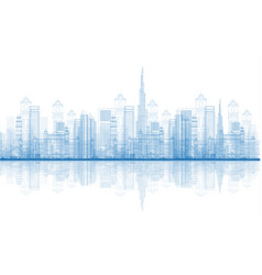 outline dubai city skyscrapers skyline vector image