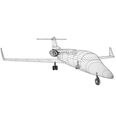 Passenger airplane wireframe concept blue vector