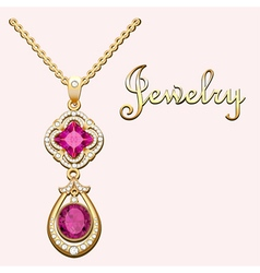 Pendant necklace with precious stones vector