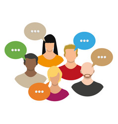 people avatar icons with dialog speech bubbles vector image