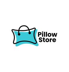 Pillow shop shopping bag logo icon vector