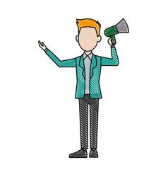 Political man hold megaphone loudspeaker stand vector