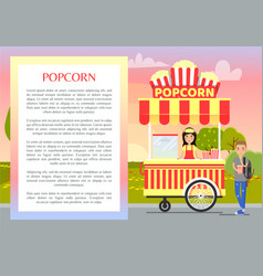 Popcorn banner and text sample vector