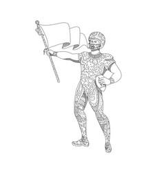 quarterback holding flag doodle vector image