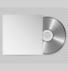 realistic cd with cover design template vector image