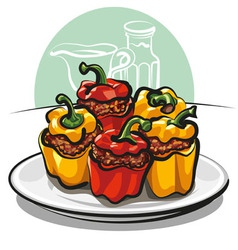Roasted peppers vector