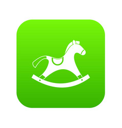 Rocking horse icon digital green vector