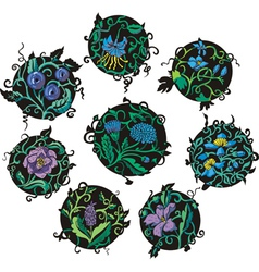 Round blue flower designs vector