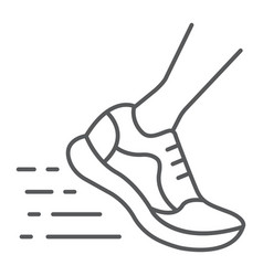 running fast thin line icon footwear sport shoes vector image