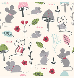 Seamless childish pattern with mouses mushroom vector