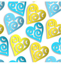 seamless pattern paper hearts blue and yellow vector image