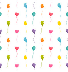 seamless pattern with colorful balloons on white vector image