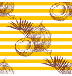 seamless pattern with hand drawn coconuts vector image