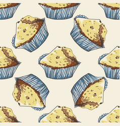 Seamless pattern with hand-drawn muffins vector