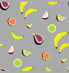 seamless pattern with tropic fruit vector image