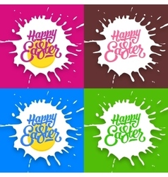 set happy easter lettering backgrounds vector image