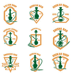 set of hookah labels design element for logo vector image