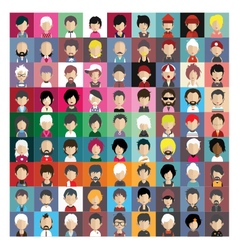 set people icons in flat style with faces 05 b vector image