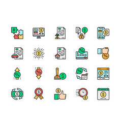 Set quick loan flat color line icons vector