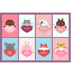 set valentine s day cards with animals vector image
