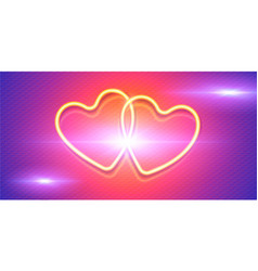 shining yellow neon hearts on pink and violet vector image