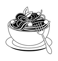 Spaghetti italian food in black and white vector