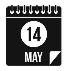 Spiral calendar page 14th of may icon simple style vector
