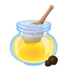 Spoon in honey jar icon cartoon style vector