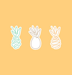 sticker one line art style a pineapple vector image