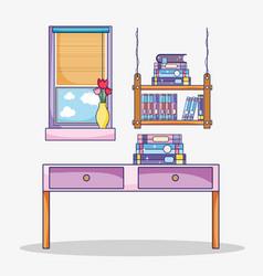 Study room interior vector