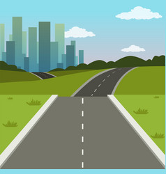 Summer green landscape with road and city vector