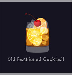 Tasty alcoholic old fashioned cocktail with orange vector