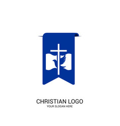 the cross of jesus christ and the dove vector image