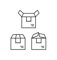 thin line delivery box icons on white background vector image
