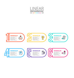 thin line flat numbers infographic template for vector image