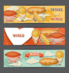 travel banners with retro air transport vintage vector image