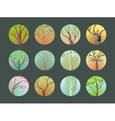 Trees set collection of different types vector
