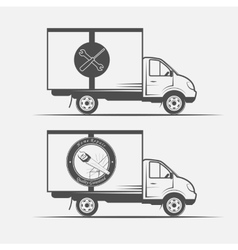 Truck advertising repair and construction vector