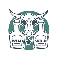 two wild bottles and buffalo skull with horns on vector image