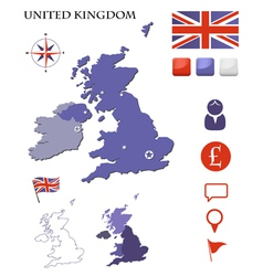 United kingdom map and icons set vector