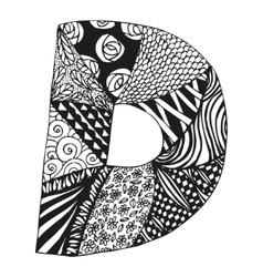 Vintage monogram d doodle alphabet character vector