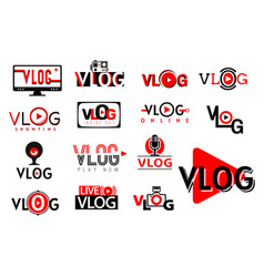 vlog video icons tv blog play button live stream vector image