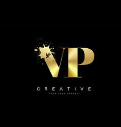 Vp v p letter logo with gold melted metal splash vector