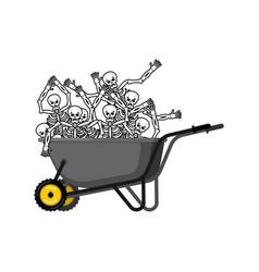 wheelbarrow and sinners skeleton in garden trolley vector image